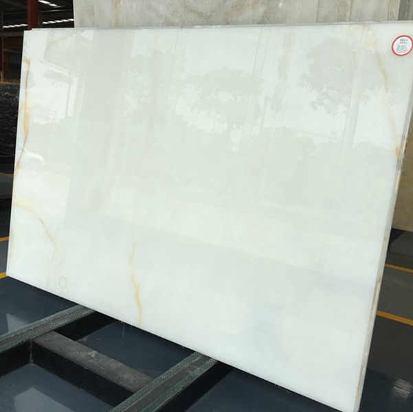 Translucent Snow White Onyx Marble Slabs Countertops Table Top Tiles