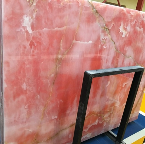 Translucent Pink Onyx Marble Slabs Countertops Table Top Tiles